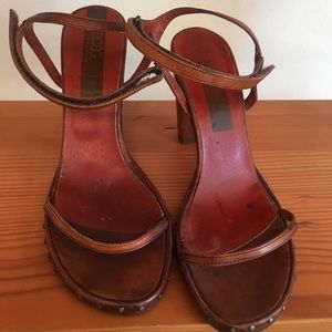 Cool Vintage BCBG block heels with nail heads